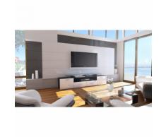 Meuble tv design noir mat et blanc laqué avec led 194 cm