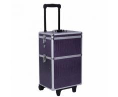 Mallette coffret trolley boîte à maquillage, bijoux et cosmétique violet