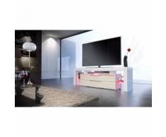 Meuble tv design blanc et crème avec led 163 cm