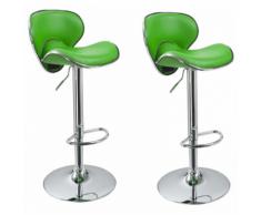 Lot de 2 Tabourets de bar design simili cuir avec dossier vert