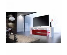 Meuble tv design blanc et bordeaux avec led 163 cm