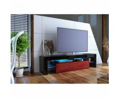 Meuble tv design laqué noir et bordeaux sans led