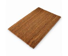 Paillasson tapis porte d'entrée essuie-pieds fibre de coco marron 60 x 40 cm
