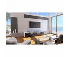 Meuble tv design blanc et noir façade laquée corps mat sans led 194 cm