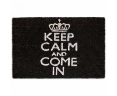 Paillasson tapis porte d'entrée essuie-pieds fibre de coco noir