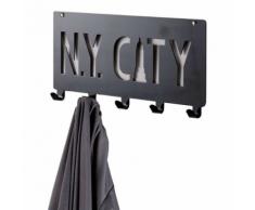 Compactor Lot de 2 patères porte-manteau à fixer «N.Y. City» noire