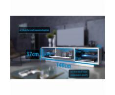 Meuble tv design corps blanc mat et porte laquée 140 cm avec Led