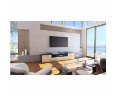 Meuble tv design noir mat et crème laqué avec led 194 cm