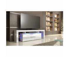 Meuble tv design blanc avec led 163 cm