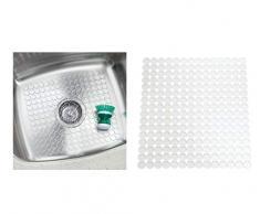 InterDesign Orbz protection évier - tapis évier en plastique - egouttoir a vaisselle à découper - transparent