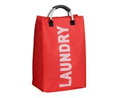 Premier Housewares 1901082 Panier à Linge avec Poignée Polyester/Aluminium Écriture en Blanc/Rouge