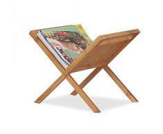 Relaxdays 10022163 Porte Journaux en Bambou, Support Revues, Poignées de Transport, Rangement sur Pieds Pratique, A4 A5 Nature, Naturel, 30 x 40 x 40 cm