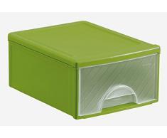 Rotho 1767805519 Caisson de tiroir, Plastique, Vert/Transparent, 35 x 25,5 x 14,5 cm