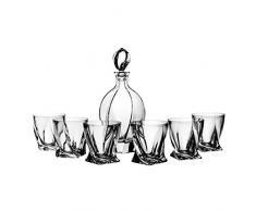 Lot de Verres à Whisky aljulia 2250, 7pièces, 1x 0,9Litre Carafe Moderne Verres à 6x Lunettes de 340ML, Transparent