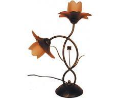 Tosel E0459 Lampe de Table Tulipano Acier 60 W E14 Ambre
