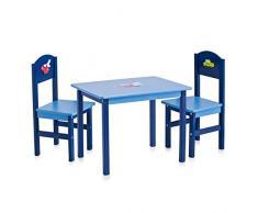 Zeller 13472 ensemble Boys 2 chaises + 1 table pour enfants en panneau/MDF, table: 60 x 48 x 45 cm; chaise: 28 x 26 x 54 cm