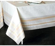 Garnier-Thiebaut GALERIE DES GLACES Nappe Antitache, Coton, Argent, 172 x 302 cm