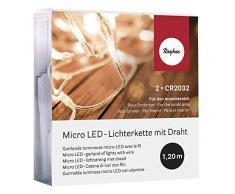 Rayher 69136000Â Micro Guirlande Lumineuse LED, avec Fil, 120Â cm, 10Â Ampoules, S