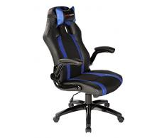 Mars Gaming MGC2BBL - Chaise de jeu professionnelle avec roulettes (inclinable et réglable en hauteur, appuie-tête rembourré, accoudoir rembourré et réglable, ergonomique), noir et bleu