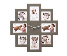 Deknudt Frames S65SM9 Cadre Multi Photos avec Horloge Taupe 49 x 49 x 4 cm