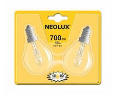 Neolux 4052899168787 Ampoule Halogène Sphérique Verre 46 W E14 Transparent Lot de 2