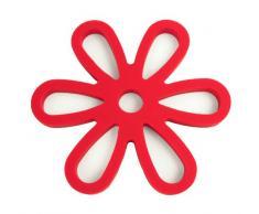 YOKO DESIGN 1205 Dessous de Plat Magnétique Coloris Rouge, Silicone Platine/Aimant en Métal Intégré, 16 x 16 x 0,9 cm