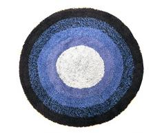 Just Contempo Tapis de bain rond 100% coton lavable Tissu-éponge, 100 % coton, Bleu (bleu marine/bleu clair/bleu foncé), Diamètre : 65 cm
