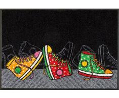 Wash+Dry Tapis Happy Sneakers 50x75 cm, Surface Nylon Semelle: 100% Caoutchouc Nitrile, Multicolore, 80 x 150 cm