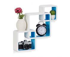 Relaxdays 10021803_361 Étagère cube carré tablette flottante murale 3 cubes en MDF compartiment coloré, blanc-bleu