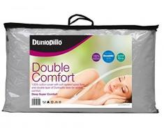 Dunlopillo Oreiller Double Confort en Latex recouvert de Fibres en Spirale, Blanc