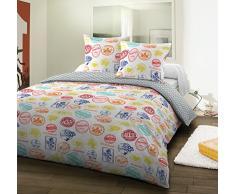 Santens Parure Housse de Couette + 2 Taies, Coton, Multicolore, 220x240 cm