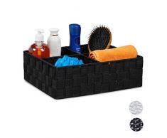 Relaxdays, Noir Corbeille de Rangement avec 4 Compartiments, Stockage de cosmétique, Salle de Bain, 10 x 32 x 27 cm, PP, métal, 1 élément