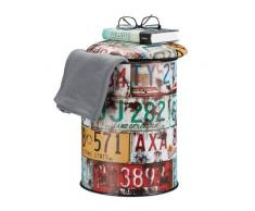 Relaxdays Tabouret cylindre avec couvercle Pouf vintage avec rangement coffre jouets enfants HxD: 44 x 32 cm, coloré
