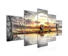 Tableau decoration murale Éléphant dAfrique 200 x 100 cm - XXL Impression sur Toile Salon Appartment 5 Parties - prêt à accrocher - 000751a