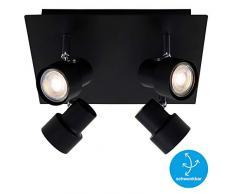 Briloner Leuchten 2861-045 Plafonnier à 4 Spots LED orientables 4 Ampoules GU10 5 W 460 LM 3000 K Noir, Métal