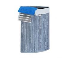 Relaxdays Panier à linge dangle en bambou H x l x Penv. 65x 49,5x 37cm Gris Panier à linge pliable avec un volume de 64l et un sac à linge en coton amovible pour les coins et les recoins de votre salle de bain