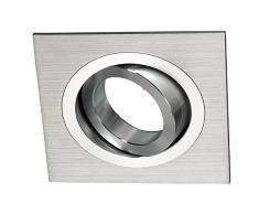 Wonderlamp Classic W-E000006 - Spot encastrable carré, aluminium, il inclut douille GU10, angle basculement 30º, 9 x 9 x 2,5 cm, couleur gris