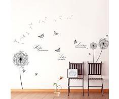 Walplus Autocollant Mural Combo Noir Pissenlit Plus Learn Live Hope Citations - Bureau Maison Décoration, 213cm x 187cm, PVC, Amovible, Autocollant, Multi-Color