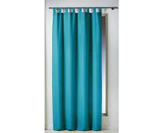 douceur dintérieur rideau a passants 140x260 cm polyester essentiel bleu