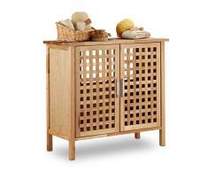 Relaxdays Meuble dessous de lavabo ou évier salle de bain en bois de noyer HxlxP: 61x 66 x 29 cm armoire robuste et résistante, nature