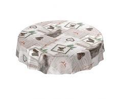 ANRO Nappe en Toile cirée Lavable pour Table en Toile cirée Motif Noël Festif Rond 140 cm