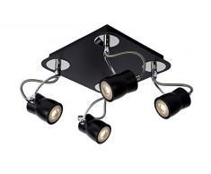 Lucide 16955/20/31 Samba Éclairage de Plafond Spot LED 4 x GU10 Noir 22 x 22 x 17 cm