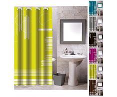 MSV 140806 Rideau de Douche Polyester + Plastique Polypropylène Vert Graphique 180 x 200 x 0,1 cm - 12 anneaux inclus