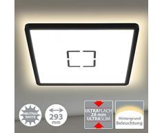 Briloner Leuchten 3390-015 Plafonnier LED, lampe de plafond avec effet de rétroéclairage, 18 W, 2.400 lumen, 4.000 kelvin, carré, blanc et noir