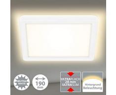 Briloner Leuchten 7153-416 Panneau LED, plafonnier avec effet de rétro-éclairage, 12 watts, 1400 lumens, 4000 Kelvin, blanc, carré, 19x19cm, W