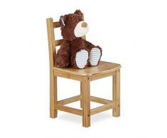 Relaxdays Chaise enfant bambou RUSTICO nature chambre denfants bois pour filles et garçons HxlxP: 50 x 28,5 x 28 cm, nature