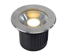 SLV 230160DASAR Module Spot LED encastrable au sol, rond, en acier inoxydable, pour modules LED Philips pivotante, en acier, gris argenté,,,