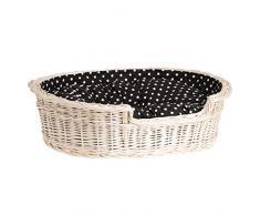 Corbeille pour chien ou chat ovale, panier en osier blanc doublée avec joli coussin noir imprimé petites pois blancs