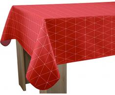Le linge de Jules Nappe Anti-Taches Geo Rouge - Taille : Rectangle 150x300 cm