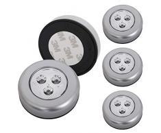 Briloner Leuchten 2633-054 Lot de 5 spots LED autocollants - éclairage sans fil pour meubles - placards etc. - à piles - fonction on/off par pression - Ø 6.8 cm
